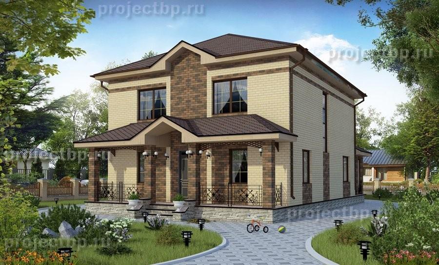 Проект двухэтажного дома с пятью жилыми комнатами и верандой 192-B
